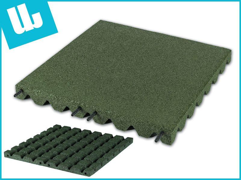 Uw Rubbertegel - Speelplaatstegel 50x50x3,0 cm Groen